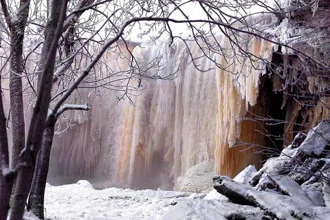 Frozen Jagala Waterfall in northern Estonia